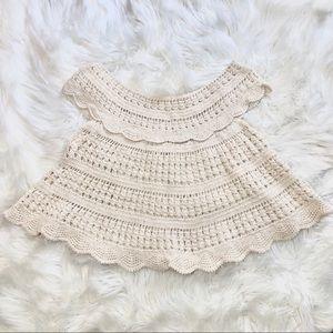 Antik Batik Crochet Open Knit Crop Top Small
